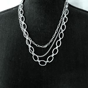 Maurices Silvertone Multi Layer Necklace